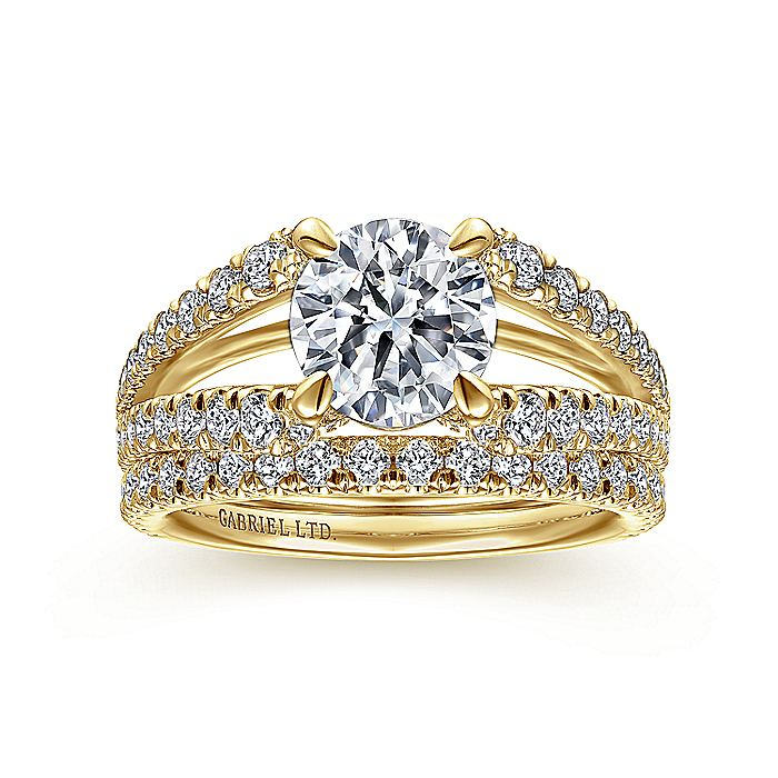 18K Yellow Gold Round Diamond Split Shank Engagement Ring