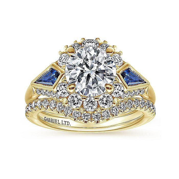 18K Yellow Gold Round Halo Sapphire and Diamond Engagement Ring