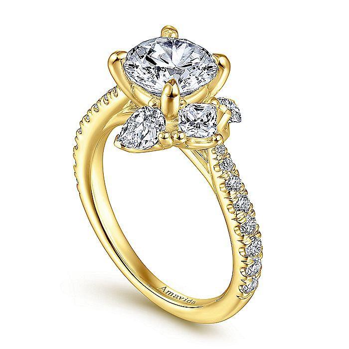 18K Yellow Gold Round Three Stone Diamond Engagement Ring