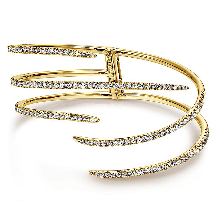 18K Yellow Gold Split Asymmetrical Diamond Bangle