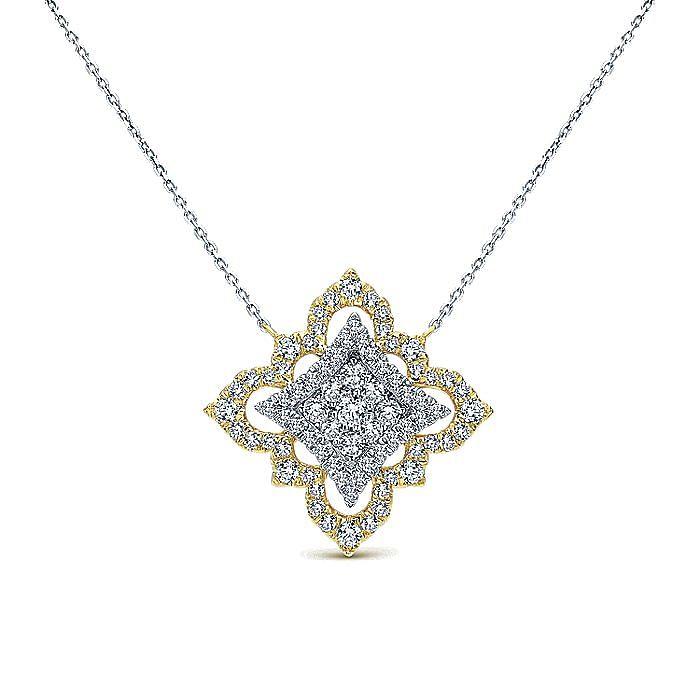 18K Yellow-White Gold Pavé Diamond Floral Pendant Necklace