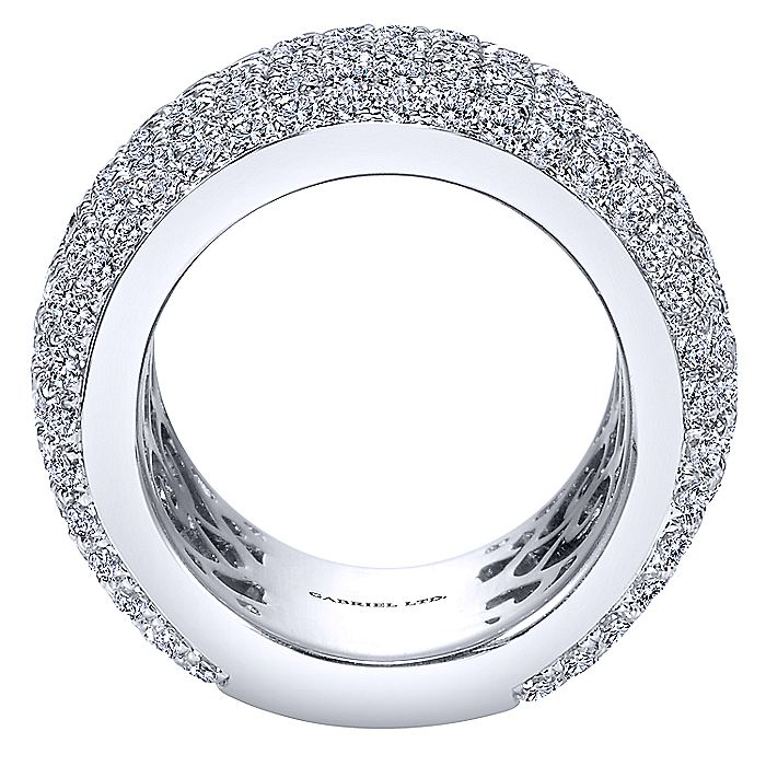 18k White Gold Fancy Diamond Micro Pavé Set Domed Ring