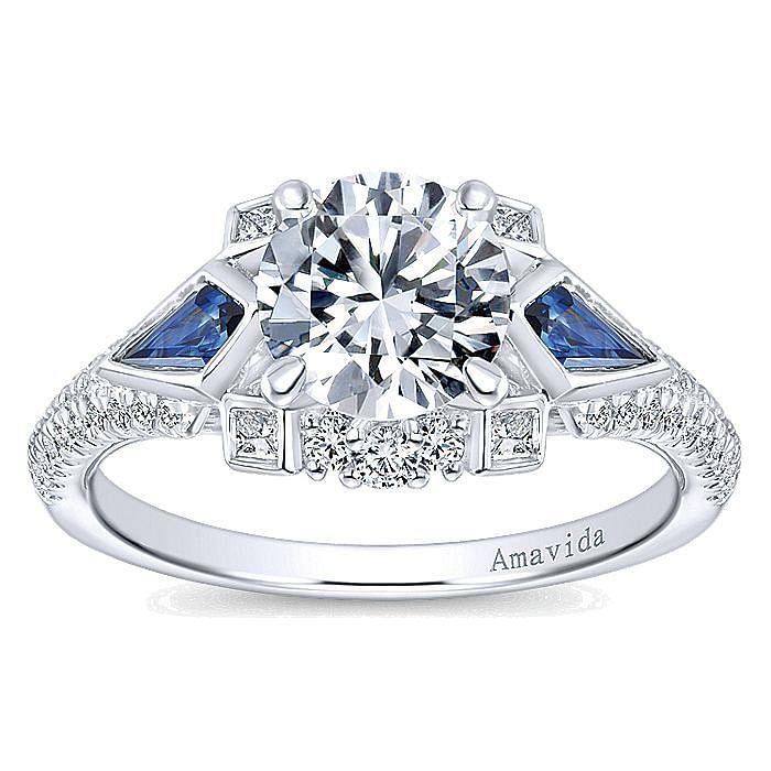 18k White Gold Round 3 Stone Kite Shaped Sapphire Side Stone Engagement Ring
