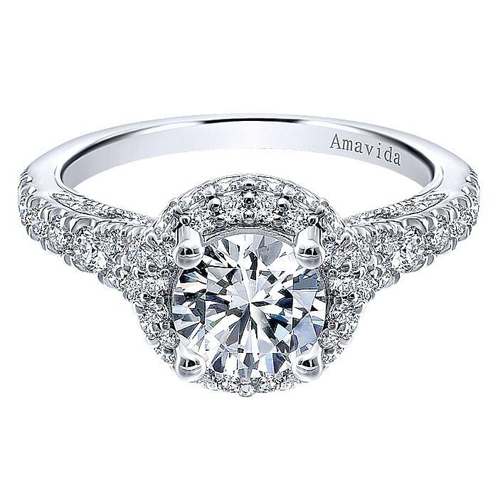 18k White Gold Round Double Halo Diamond Engagement Ring