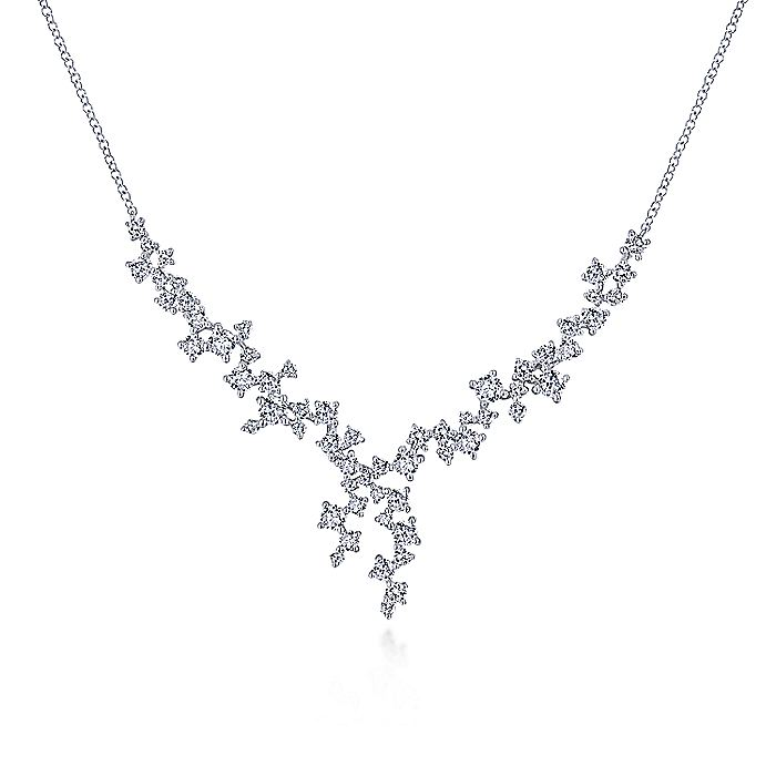 18k White Gold Waterfall Lariat Diamond Necklace