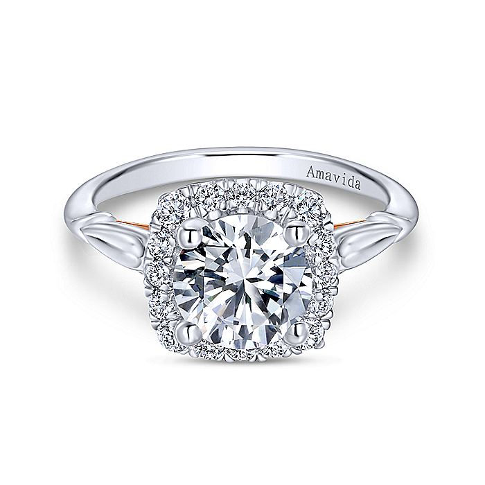 18k White-Rose Gold Cushion Halo Round Diamond Engagement Ring