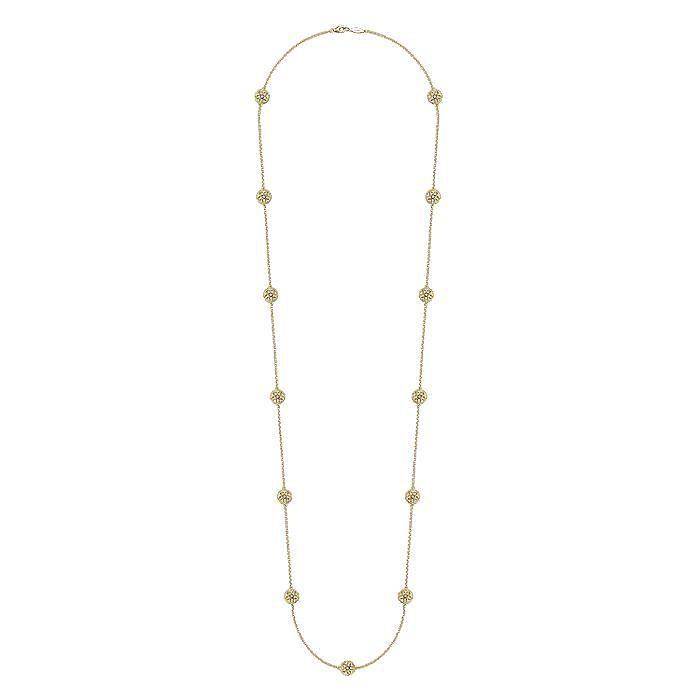 36inch 925 Silver White Topaz Station Necklace