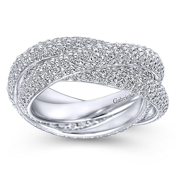 5 Row 14K White Gold Intersecting Pave Diamond Eternity Band