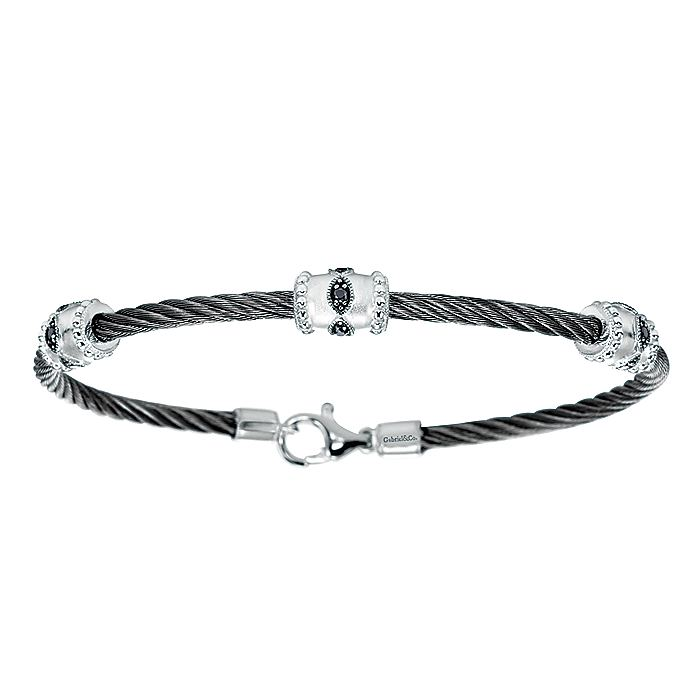925 Silver & Stainless Steel Black Diamond Bangle