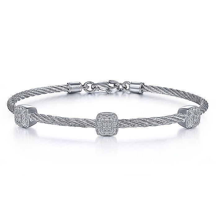 925 Silver & Stainless Steel Diamond Bangle
