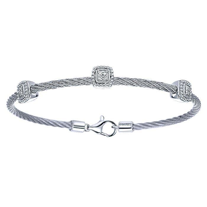 925 Silver & Stainless Steel Diamond Bangle