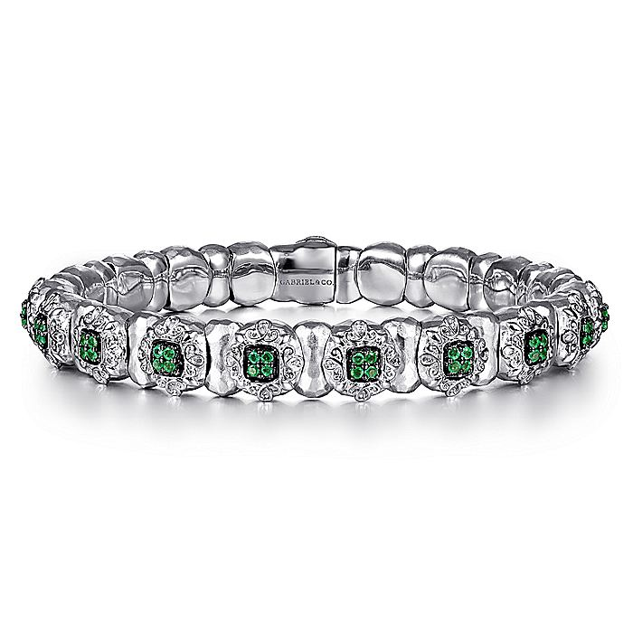 925 Silver & Stainless Steel Emerald Bangle