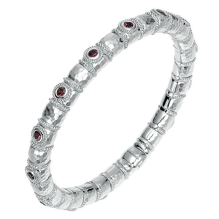 925 Silver & Stainless Steel Garnet Bangle