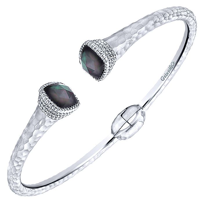 925 Silver & Stainless Steel Rock Crystal & Black Pearl Bangle