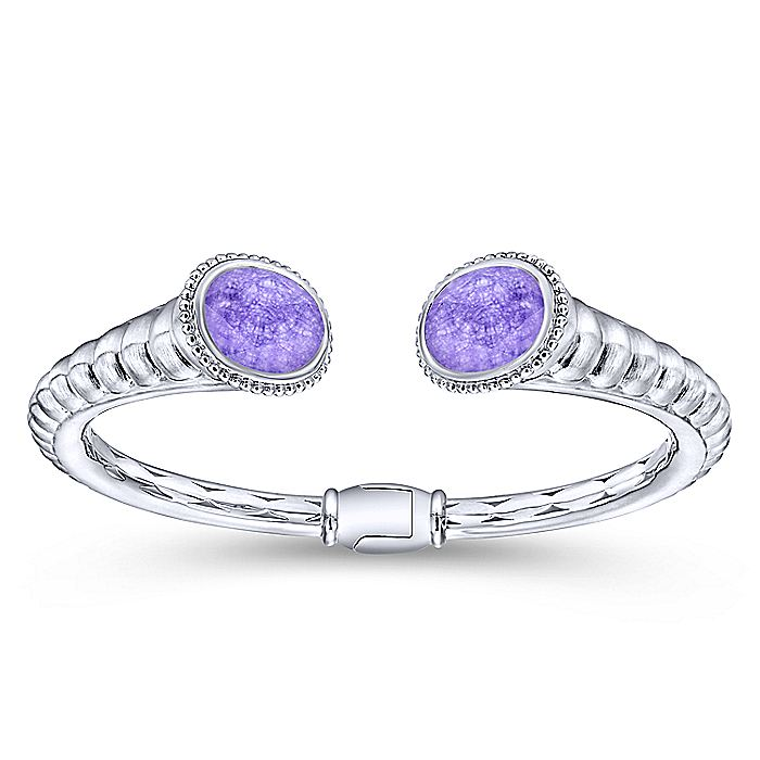 925 Silver & Stainless Steel Rock Crystal & Purple Jade Bangle