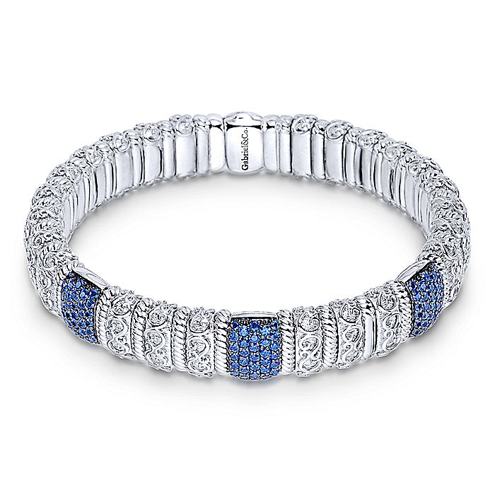 925 Silver & Stainless Steel Sapphire Bangle