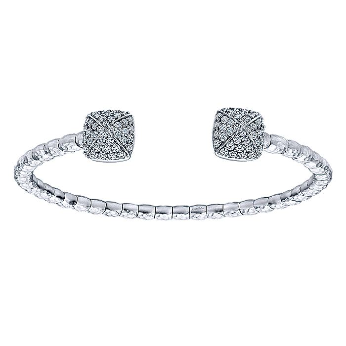 925 Silver & Stainless Steel White Sapphire Bangle