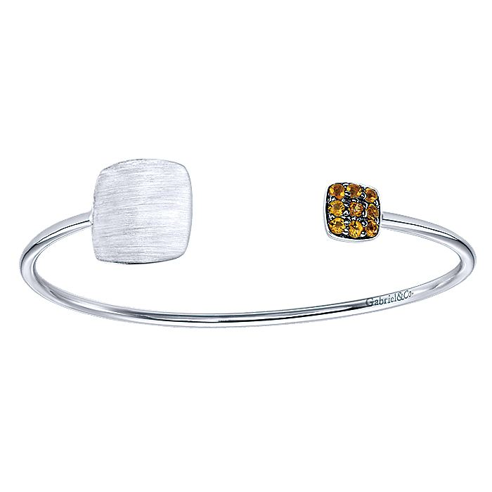 925 Silver Citrine Engravable Open Bangle