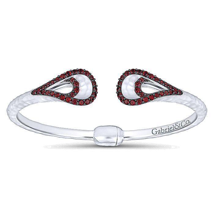 925 Silver Garnet Bangle
