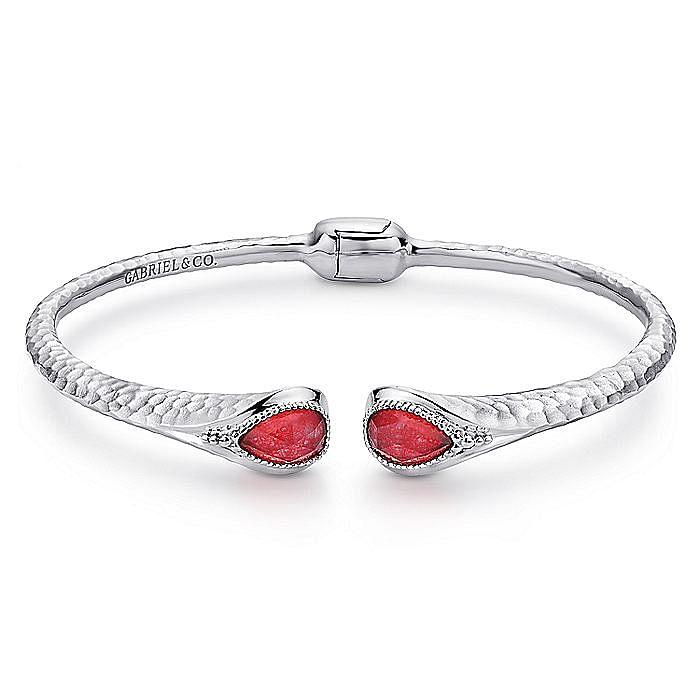 925 Silver Rock Crystal & Red Jade Bangle