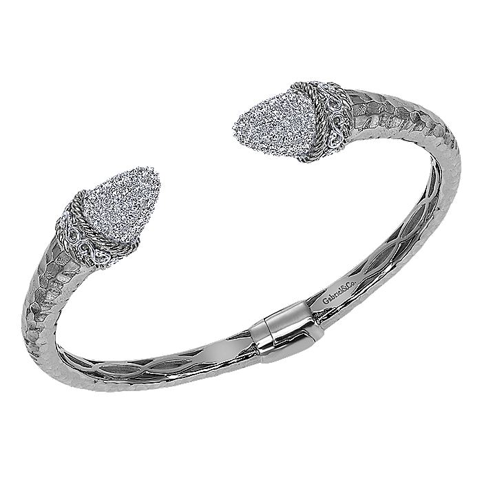 925 Silver White Sapphire Pavé Open Hinged Bangle