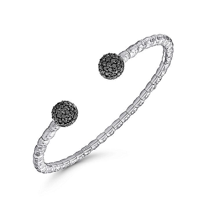 925 Silver and Stainless Steel Black Spinel Pavé Split Bangle