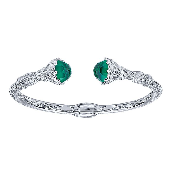 925 Silver and Stainless Steel Rock Crystal and Green Onyx Open Bangle