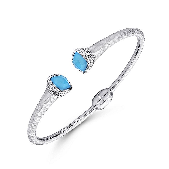 925 Silver and Stainless Steel Rock Crystal and Turquoise Split Bangle