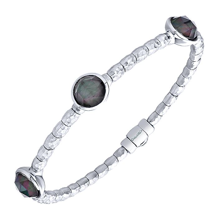 925 Silver and Stainless Steel Round Black Pearl Station Bangle