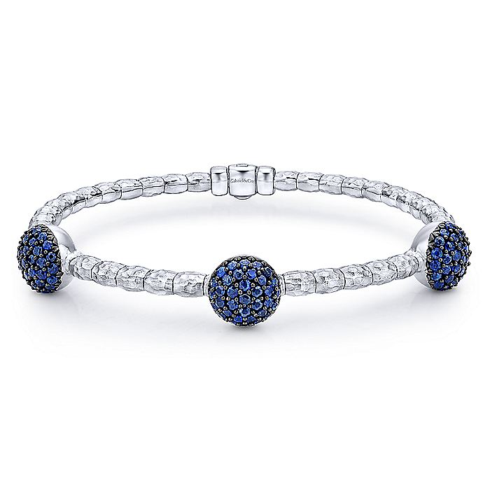 925 Silver and Stainless Steel Round Sapphire Pavé Station Bangle