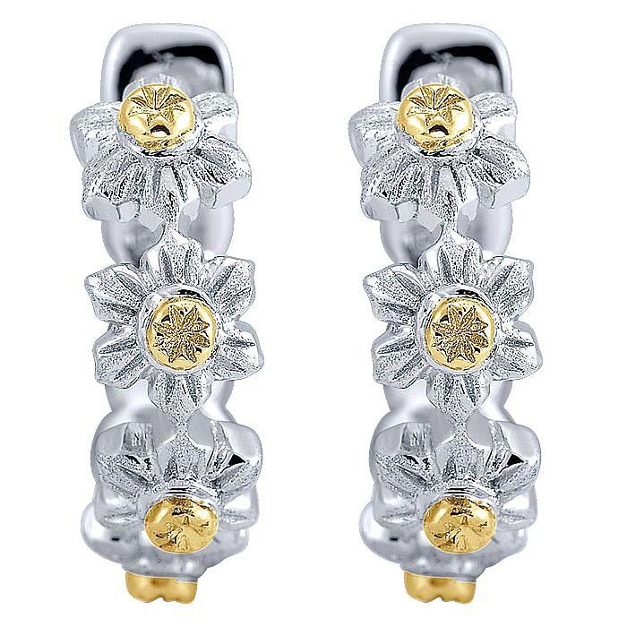925 Sterling Silver - 18K Yellow Gold 15mm Flower Huggies