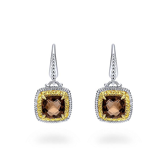925 Sterling Silver - 18K Yellow Gold Cushion Green Amethyst and Yellow Sapphire Halo Drop Earrings