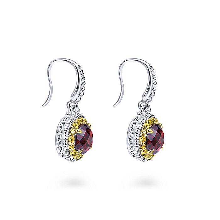 925 Sterling Silver - 18K Yellow Gold Round Garnet and Yellow Sapphire Halo Drop Earrings