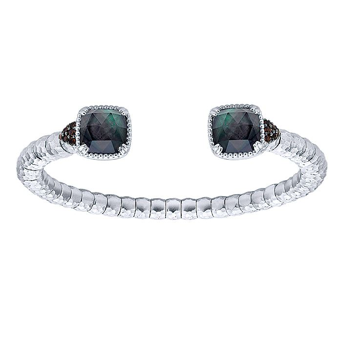 925 Sterling Silver - Stainless Steel Hammered Cushion Rock Crystal and Black Mother of Pearl and Smoky Quartz Cuff Bangle