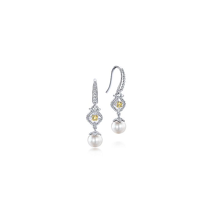925 Sterling Silver & 18k Yellow Gold Vintage Inspired Cultured Pearl Drop Earrings