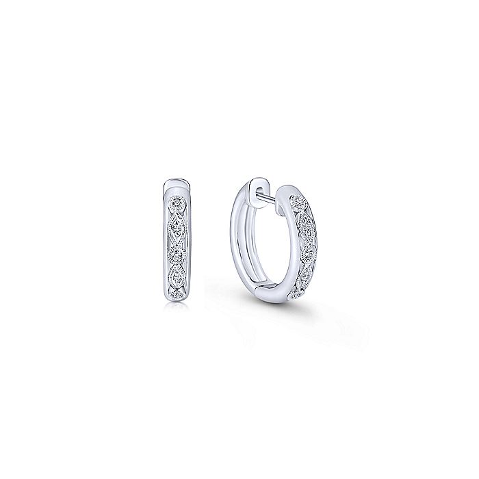 925 Sterling Silver 10mm Pave Diamond Huggie Earrings
