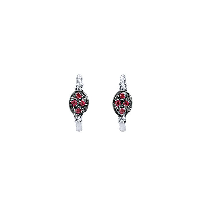 925 Sterling Silver 10mm Ruby and White Sapphire Huggie Earrings