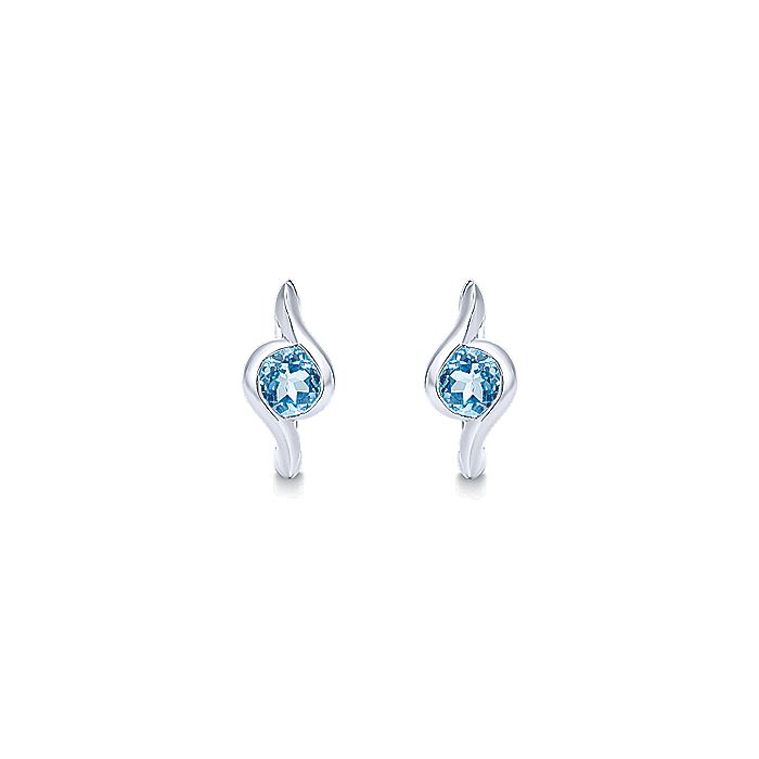 925 Sterling Silver 15mm Blue Topaz Bypass Huggie Earrings