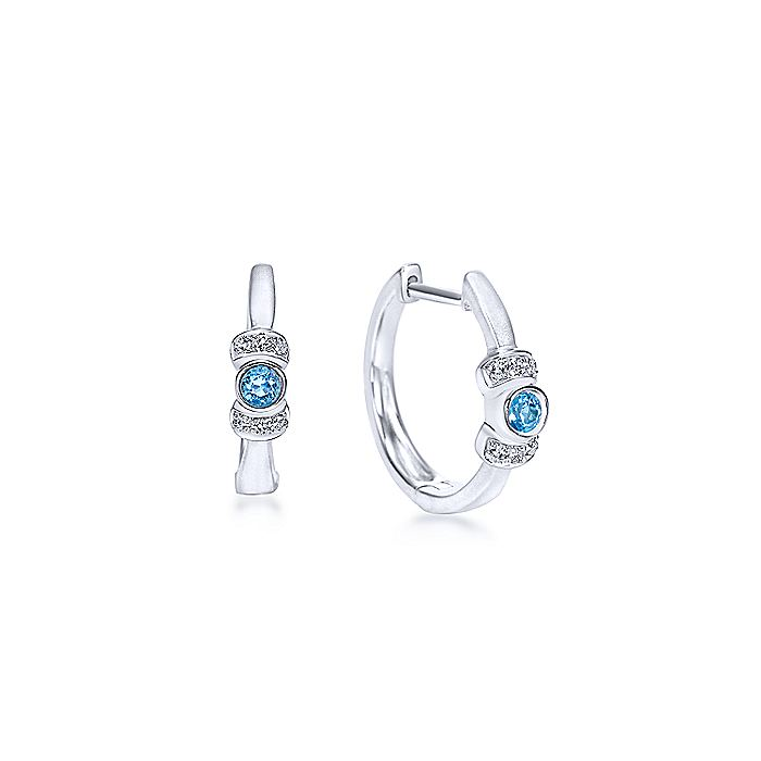 925 Sterling Silver 15mm Blue Topaz and Diamond Huggie Earrings