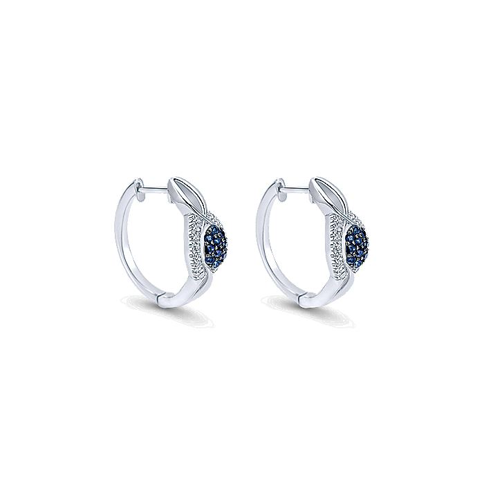 925 Sterling Silver 15mm Blue and White Sapphire Huggie Earrings