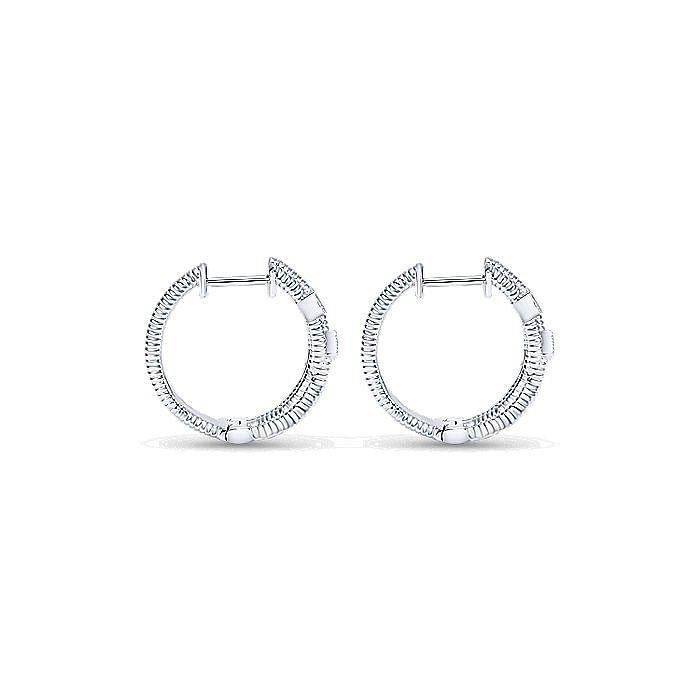 925 Sterling Silver 15mm Diamond Huggie Earrings