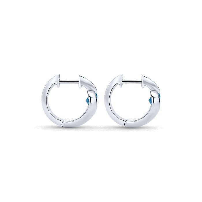 925 Sterling Silver 15mm Round Blue Topaz Bypass Huggie Earrings