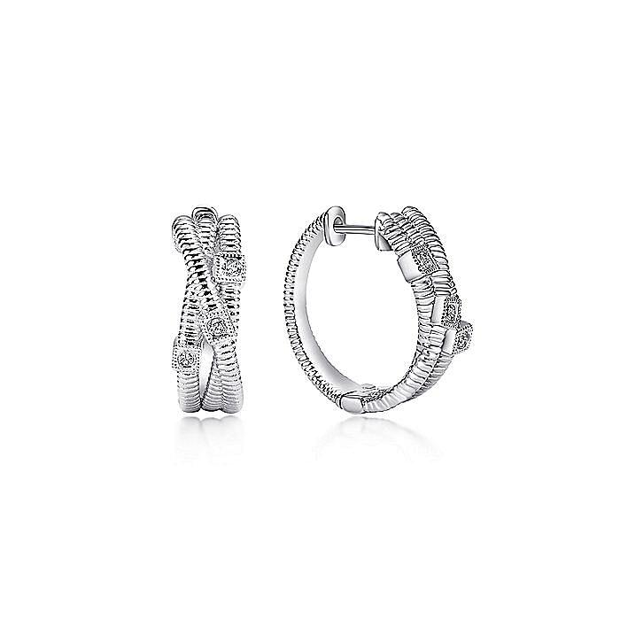 925 Sterling Silver 15mm Twisting Diamond Huggie Earrings