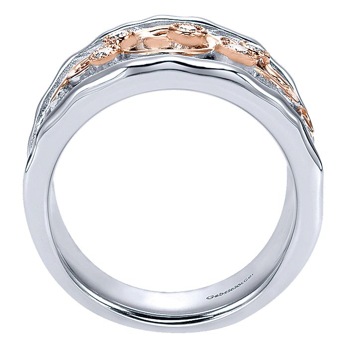 925 Sterling Silver-18K Rose Gold Embossed Scrollwork Diamond Wide Band Ring