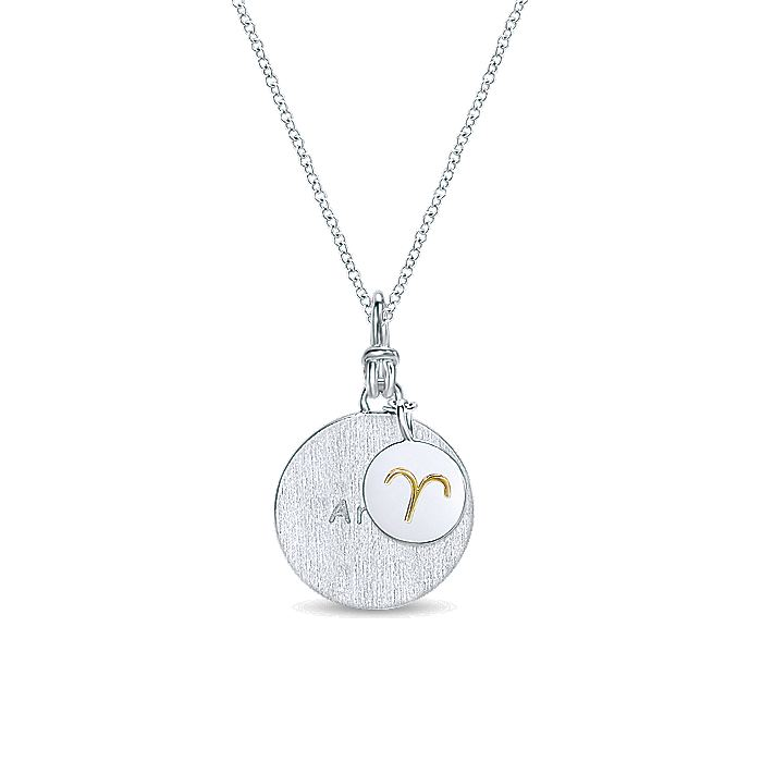 925 Sterling Silver-18K Yellow Gold Aries Zodiac Charm Necklace