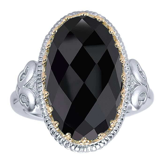 925 Sterling Silver-18K Yellow Gold Beaded Oval Rock Crystal/Black Onyx Ring