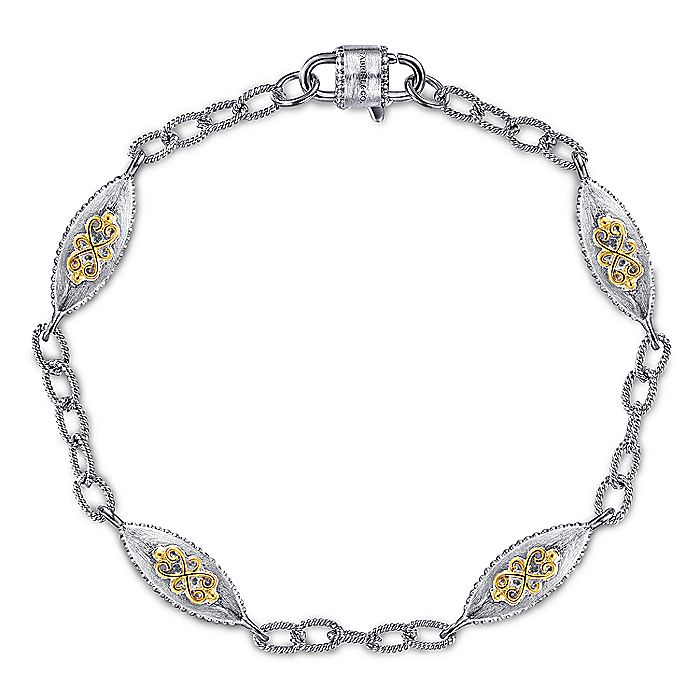 925 Sterling Silver-18K Yellow Gold Chain Bracelet with Filigree Stations