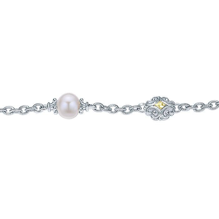 925 Sterling Silver-18K Yellow Gold Chain Bracelet with Pearls and Filigree Stations