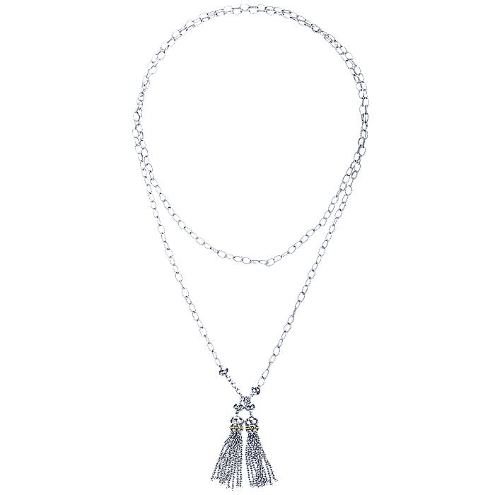 925 Sterling Silver-18K Yellow Gold Double Tassel Lariat Necklace