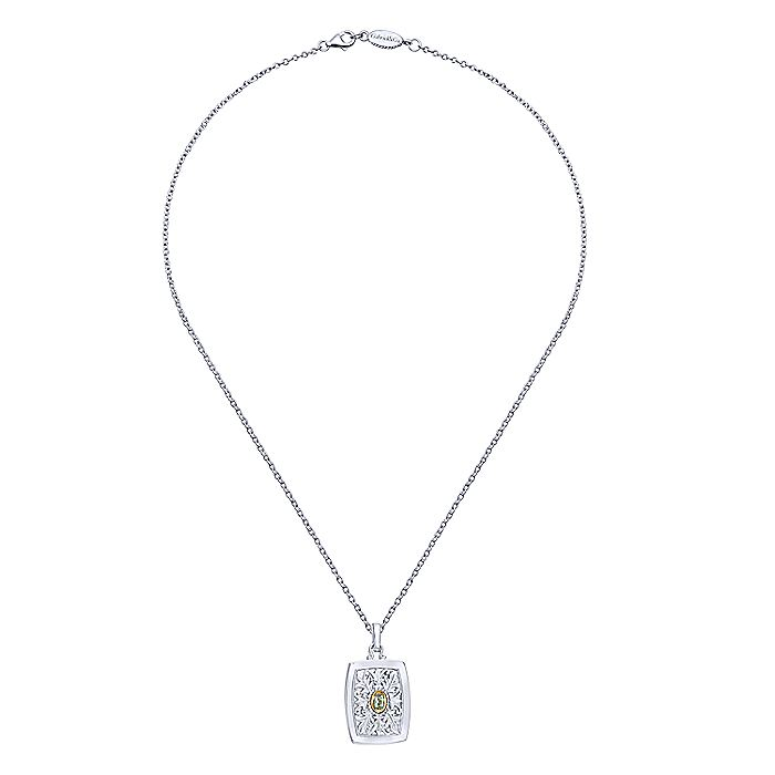 925 Sterling Silver-18K Yellow Gold Leaves Oval Green Amethyst Pendant Necklace